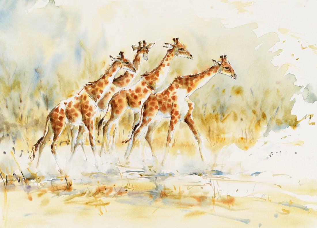 """<span class=""""artist""""><strong>Julia Cassels</strong></span>, <span class=""""title""""><em>Giraffe Walk</em></span>"""