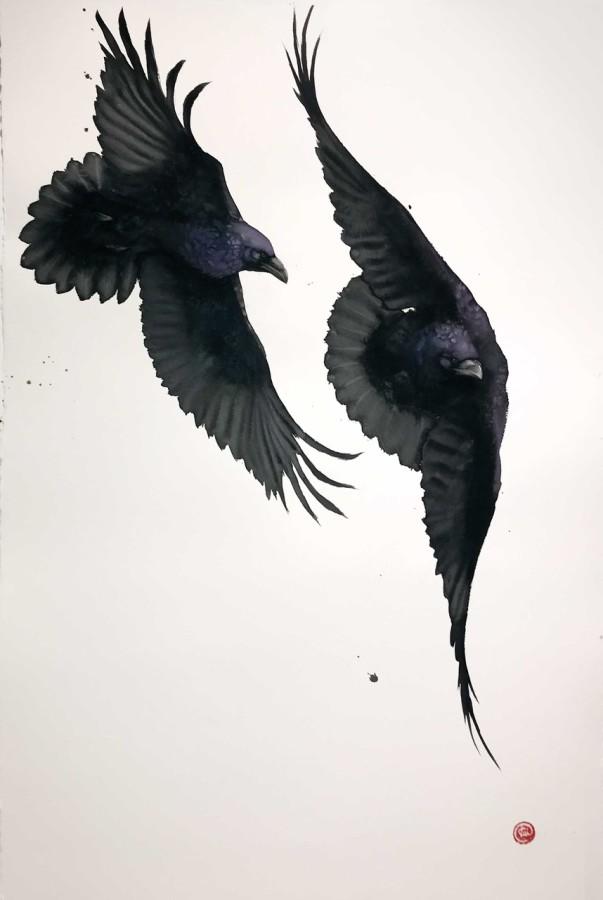 """<span class=""""artist""""><strong>Karl Martens</strong></span>, <span class=""""title""""><em>Ravens II (Unframed) </em></span>"""