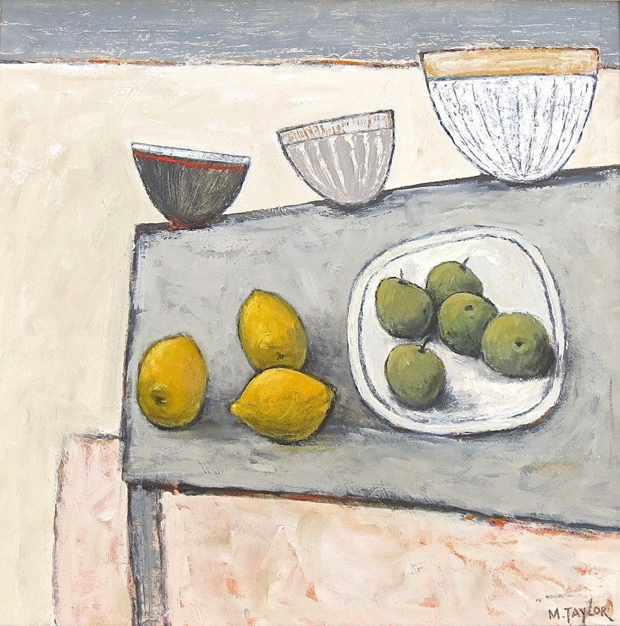 "<span class=""artist""><strong>Malcolm Taylor</strong></span>, <span class=""title""><em>Lemons, Pots and Plums</em></span>"