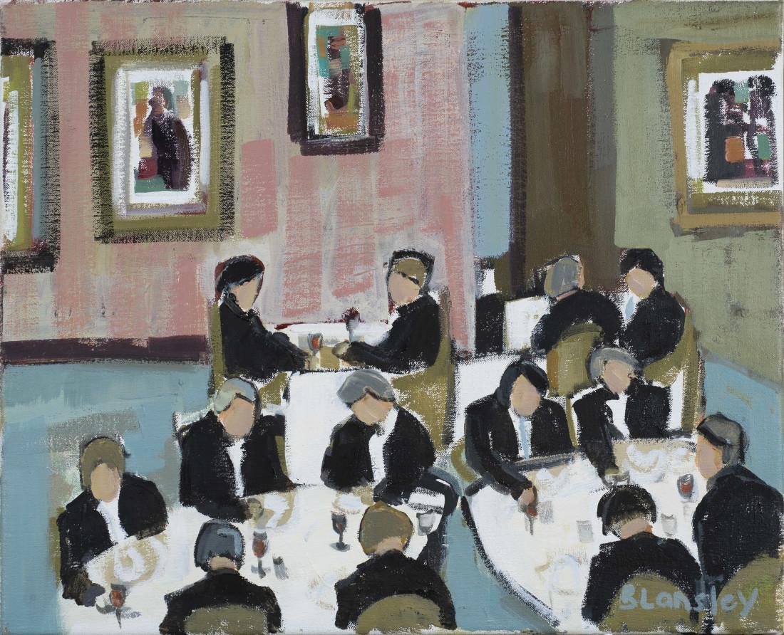 "<span class=""artist""><strong>Bridget Lansley</strong></span>, <span class=""title""><em>Club Dinner</em></span>"