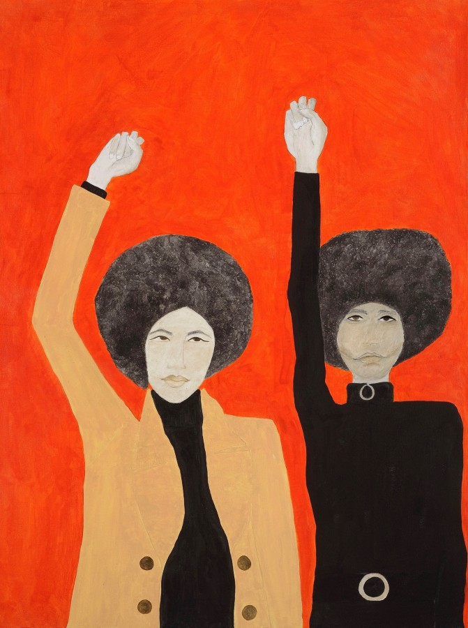 "<span class=""artist""><strong>Kate Boxer</strong></span>, <span class=""title""><em>Kathleen Cleaver and Angela Davis</em></span>"