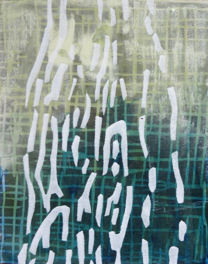 Laura Fayer  Small Work #2, 2015  acrylic and rice paper on panel  10 x 8 in  $800