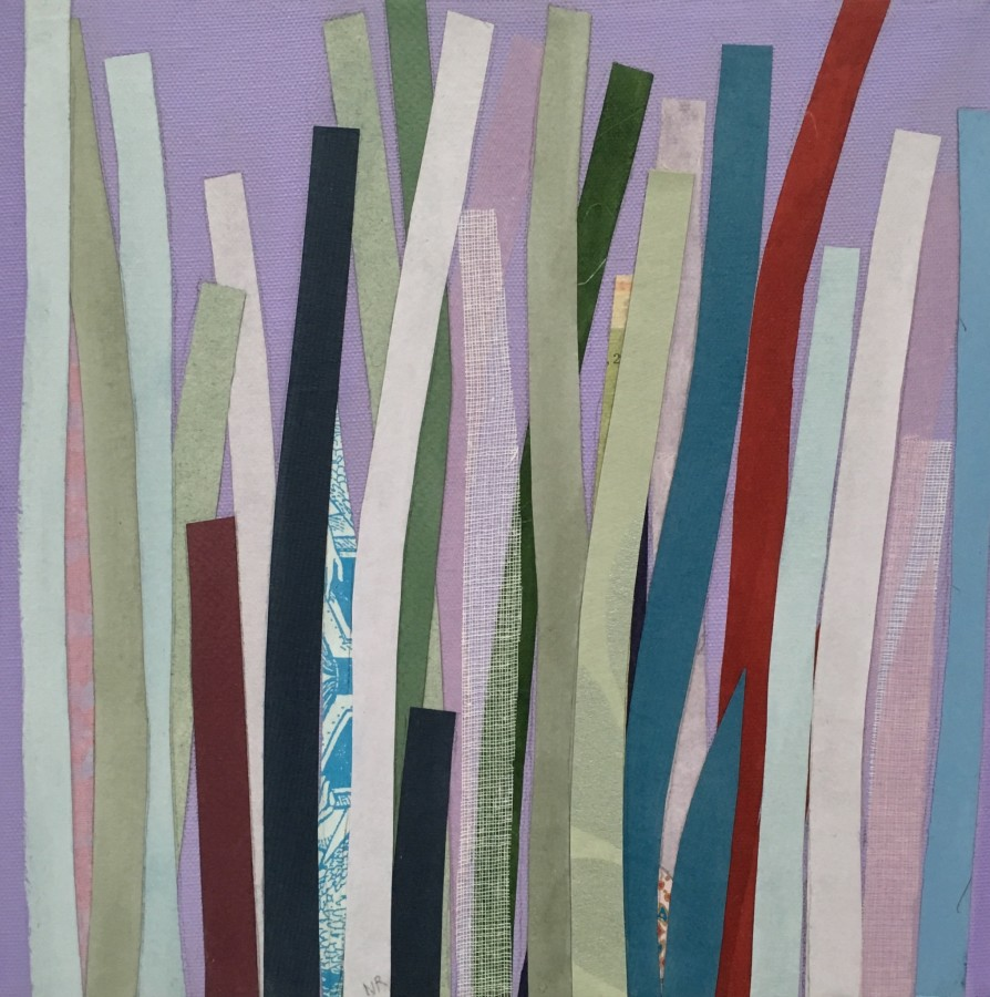 Nancy Rubens  Drifting, 2015  acrylic, glued papers and gauze on canvas  10 x 10 in.  $1,000
