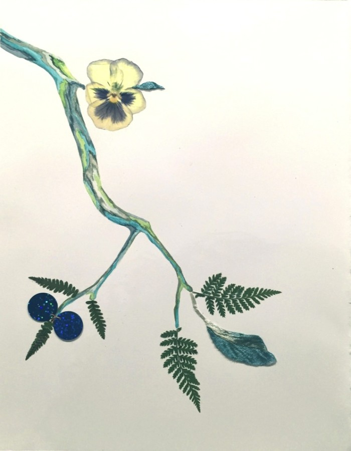 <div class=&#34;artist&#34;><strong>Marilla Palmer</strong></div><div class=&#34;title&#34;><em>Down on Velvet</em>, 2015</div><div class=&#34;medium&#34;>watercolor, foliage, sequins, velvet</div><div class=&#34;dimensions&#34;>12 x 9 in.</div><p><span class=&#34;title&#34;>framed $1,100<br /></span></p>