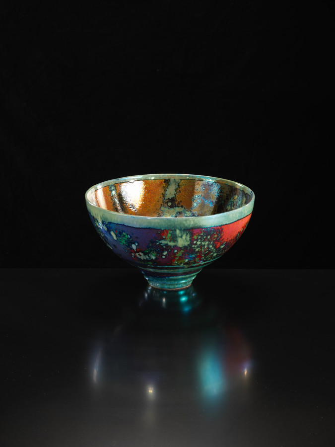 <span class=&#34;artist&#34;><strong>Sutton Taylor</strong><span class=&#34;artist_comma&#34;>, </span></span><span class=&#34;title&#34;>Large Red, Amber and Bronze Bowl<span class=&#34;title_comma&#34;>, </span></span><span class=&#34;year&#34;>2018</span>