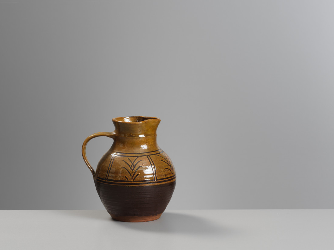 Michael Cardew, Jug carved/Chevron (glaze loss to rim)