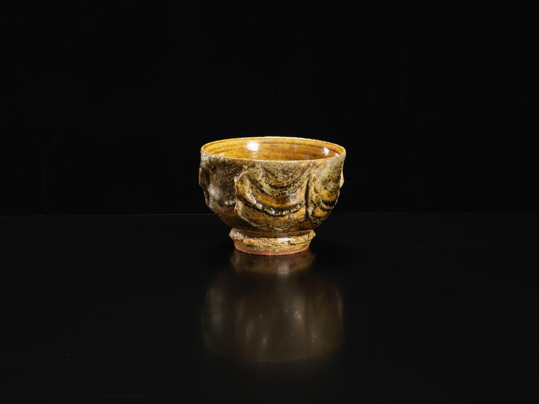 Kawai Kanjiro, Yellow Bowl with Brush Stroke Pattern