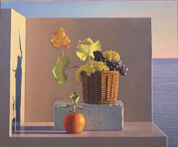 <span class=&#34;artist&#34;><strong>David ligare</strong></span>, <span class=&#34;title&#34;><em>Still Life with Grapes and Apple (Aparchai)</em>, 2005</span>