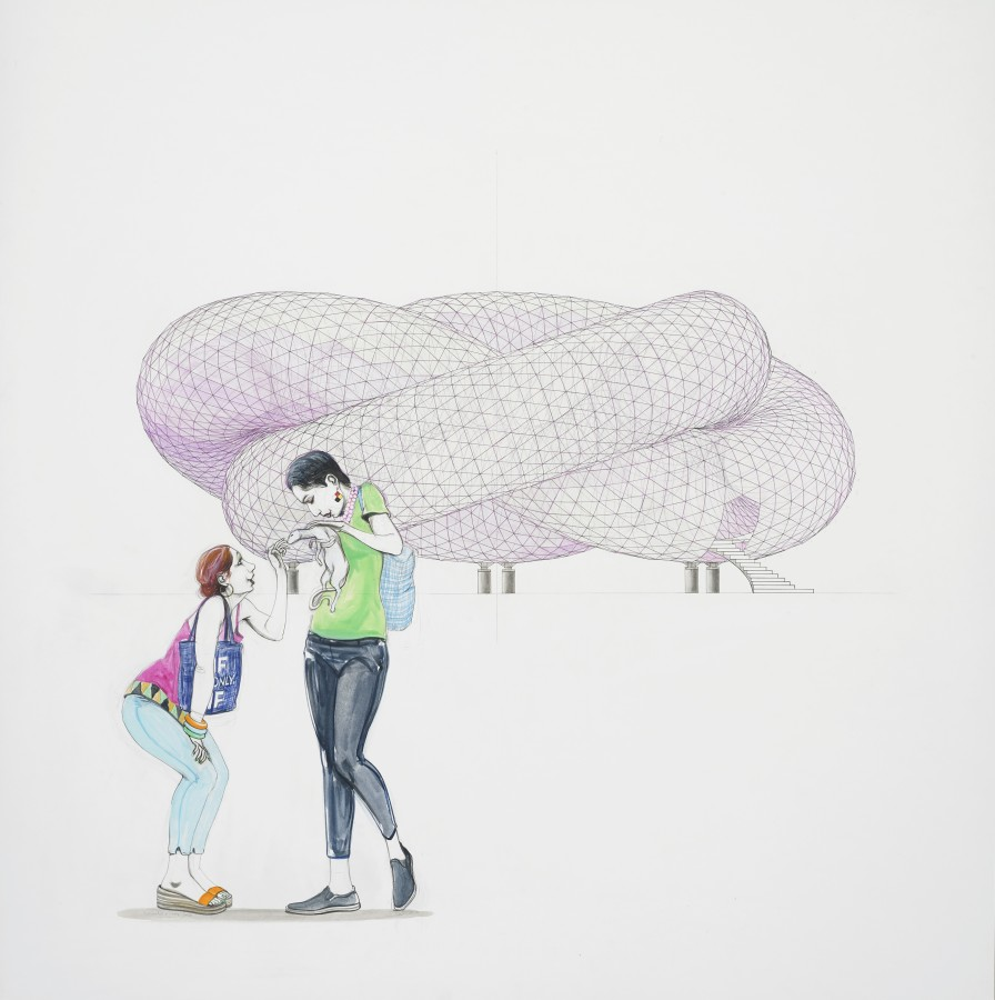 Charles Avery, Untitled (Couple with Pet in front of Pavilion) , 2020