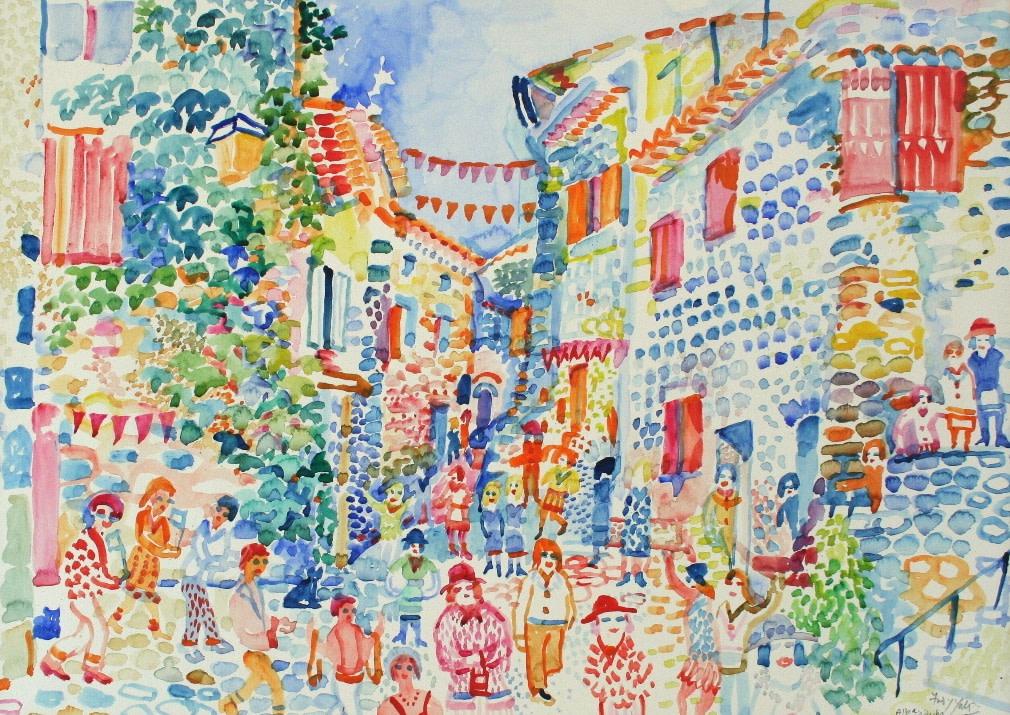 <p>Alba, L'Adeche, Watercolour, 47 x 68 cms, £ 2,000</p>