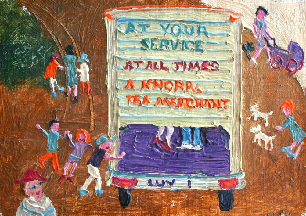 <p>At Your Service, Oil on canvas, 16 x 22 cms £1,250</p>