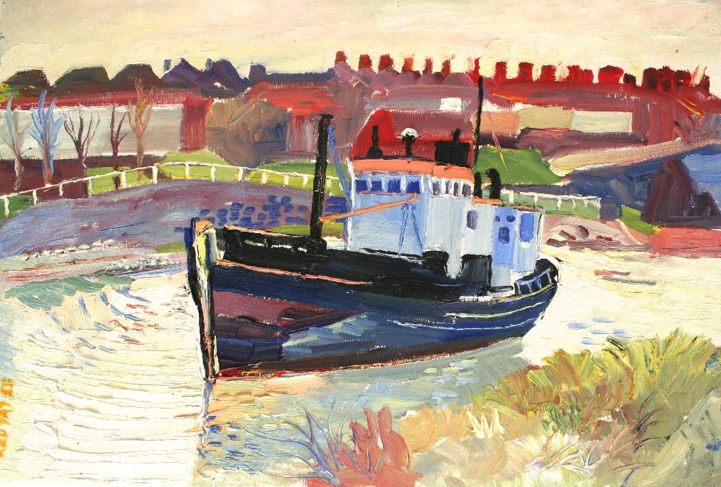 <p>Boat at Falmouth, Oil on canvas, 50 x 75 cms,&#160; &#163;5,250</p>