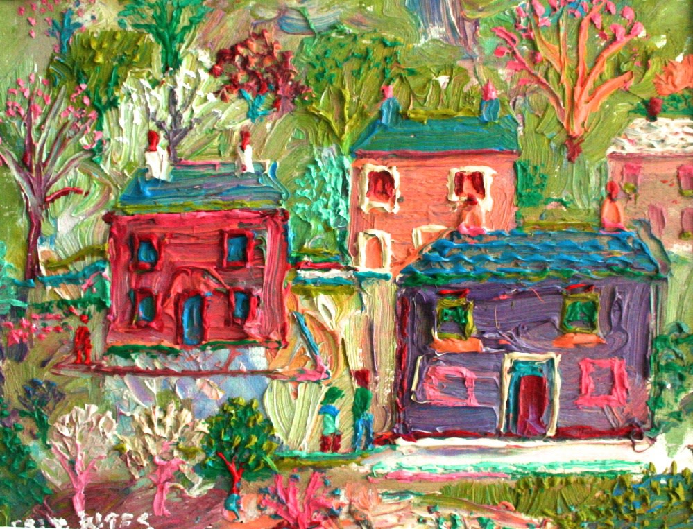 <p>Houses and Gardens, Oil on board, 25 x 35 cms&#160; &#163;2,500</p>