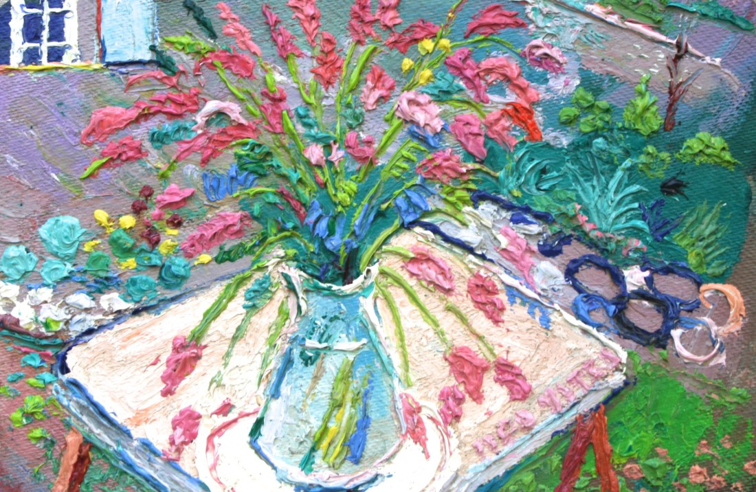 <p>Wild Flowers on a Table, Oil on board, 22 x33 cms, £1,750</p>