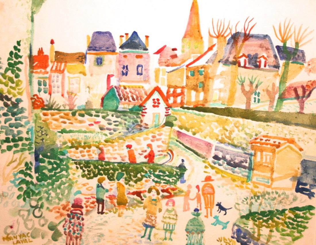 <p>Magnac-Laval, Limonousin, France, Watercolour, 34.3 x 43.8 cms, £</p>