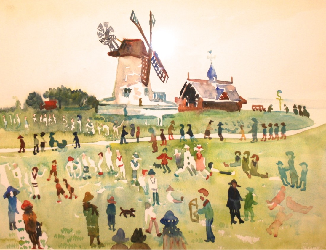 <p>Lytham Windmill with Figures, Watercolour, 30 x 40 cms,&#160; &#163; 1,200</p>