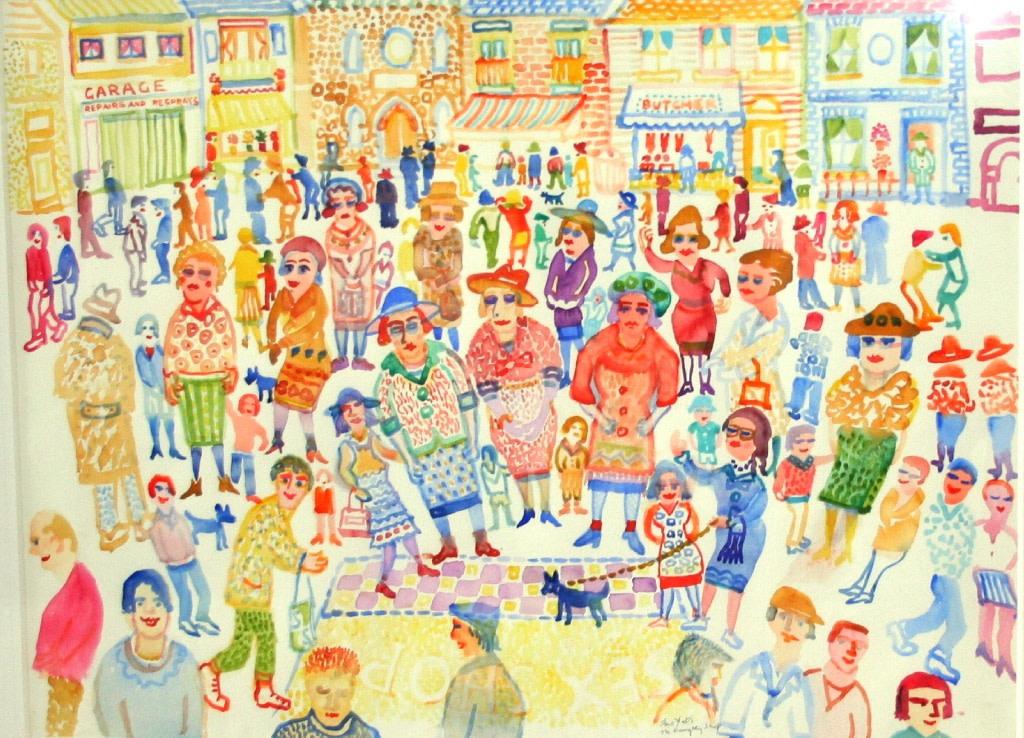 <p>The Naughty Shop, Watercolour, 56 x 75 cms, £ 2,500</p>