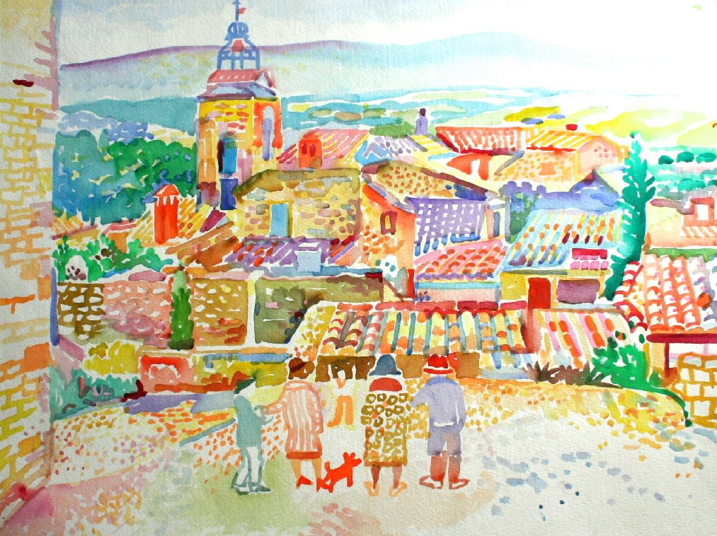 <p>Church and Rooftops, Provence, Watercolour, 45 x 60 cms,&#160; &#163;1,950</p>