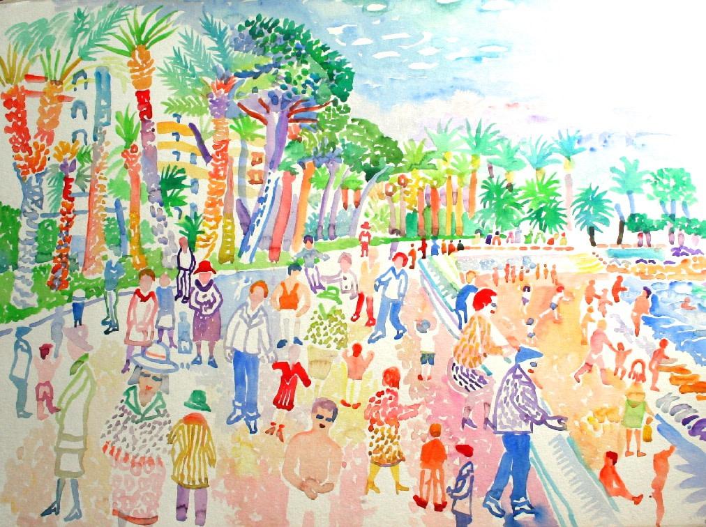 <p>Promenade des Anglais, Nice, Watercolour, 56 x 76 cms ,&#160; &#163;2,950</p>