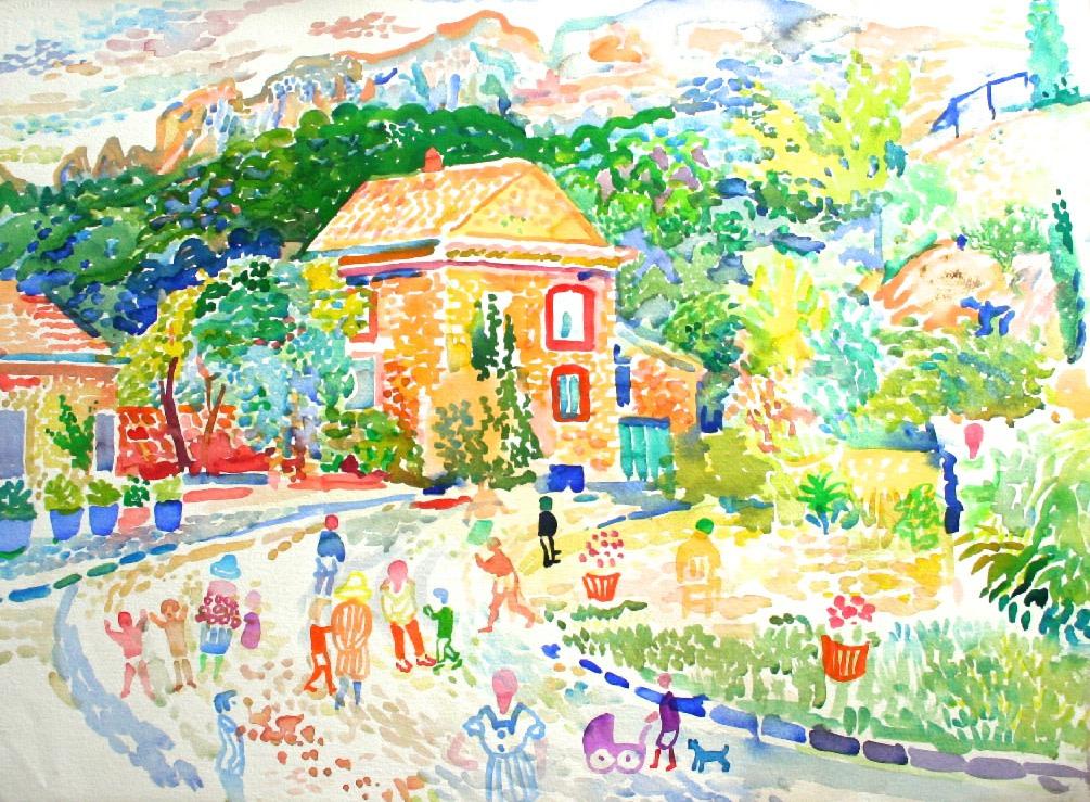 <p>Road to Les Pilles, Watercolour, 56 x 76 cms, £ 2,950</p>