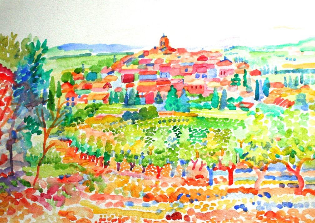 <p>La Motte Chalancon, Watercolour, 50 x 70 cms,&#160;&#160; &#163; 2,500</p>