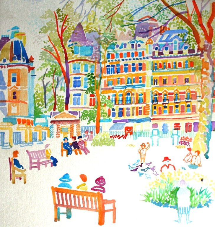 <p>Sitting in the Square, Watercolour, 60 x 58 cms,&#160; &#163;2,250</p>