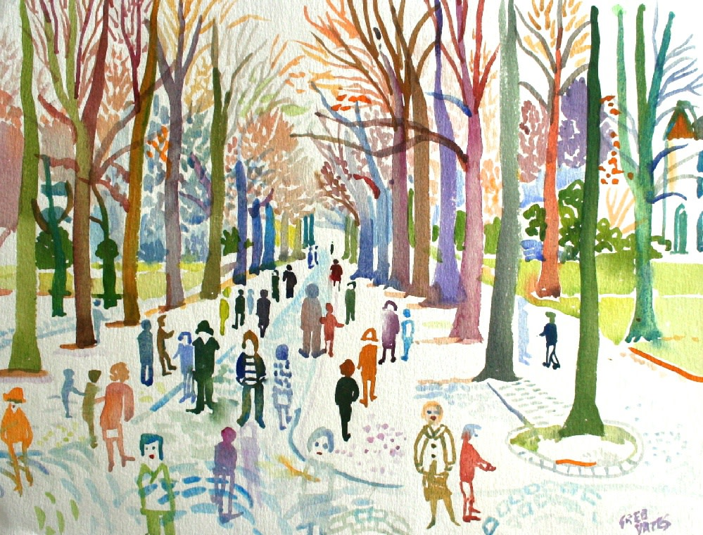 <p>Sunday Walk, Ashton Gardens, Lytham, St. Annes I, Watercolour, 30x 40 cms, &#163;1,200</p>