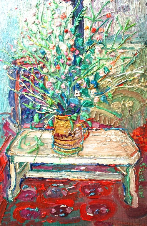 <p>Wild Flowers on a Table, Oil on board, 62 x 41 cms, Signed&#160;&#160; &#163;5,500</p>