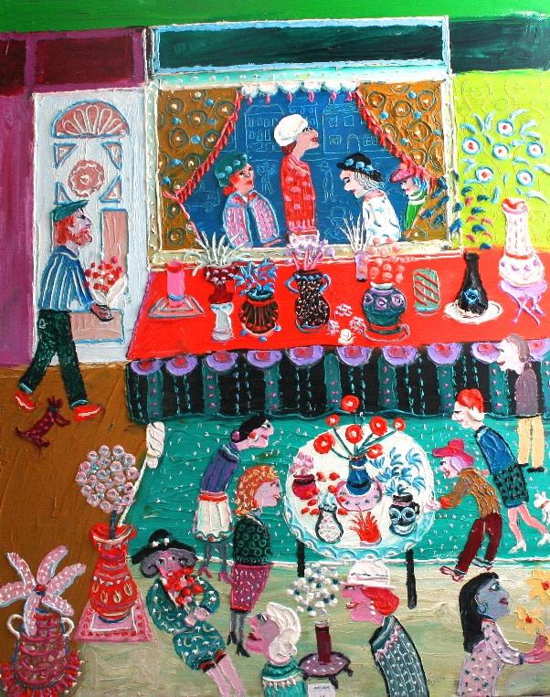 <p>Chez La Fleuriste, Oil on canvas, 100 x 81 cms, £12,500</p>