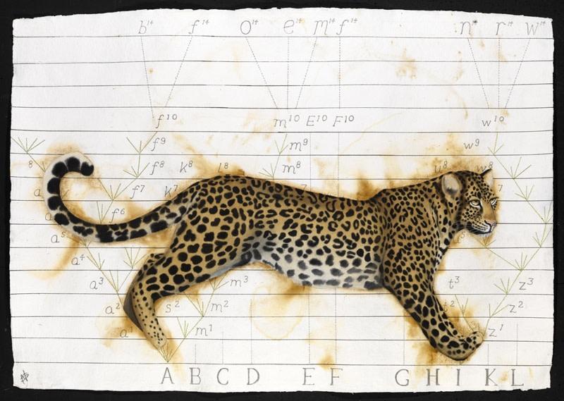 """<p>Darwin's Leopard, Watercolour, 37"""" x 53"""", Price: £5,400</p>"""
