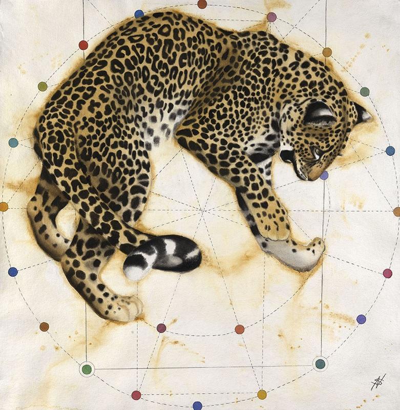 "<p>Gothic - Leopard, Watercolour, 37"" x 37"" , Price: £4,500</p>"