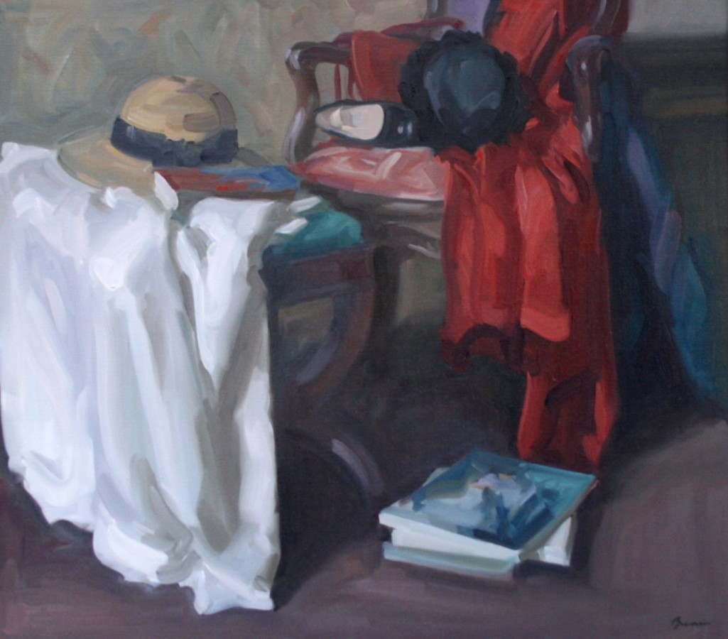 <p>Antony Bream.&#160; <em>The Red Coat</em>.&#160; Oil on canvas. 81x 91cm&#160; Price: &#163;9,200</p>