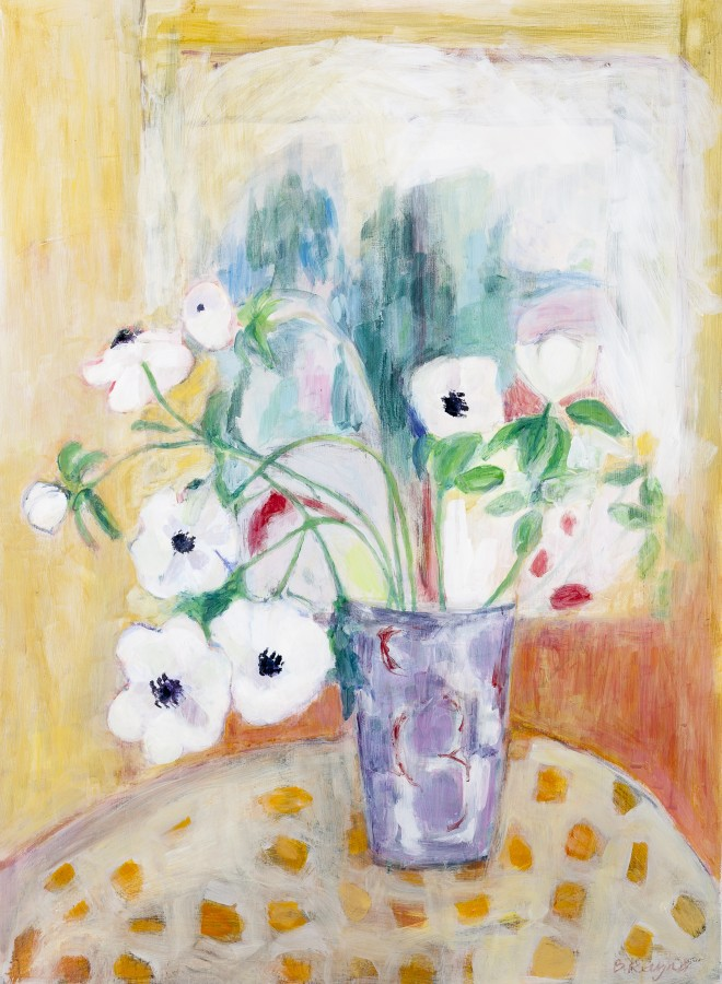 <p>Belinda Rayner. <em>Mauve Vase with Anemones</em>.&#160; Acrylic on gessoed paper. 77x56cm.&#160; Price: &#163;2,100</p>