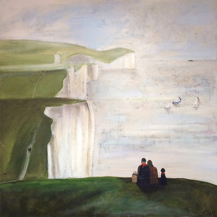 <p>Kim Langford. <em>Picnic on the Cliffs</em>. Oil on canvas. 100 x 100cm.&#160; Price: &#163;1,950</p>