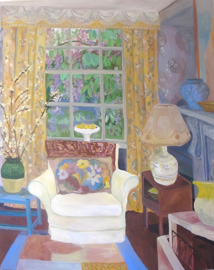 <p>Lottie Cole. <em>Drawing Room at Charleston with Yellow Blossom</em>.&nbsp; Oil on canvas. 150 x 120 cms&nbsp; &pound;4,500</p>
