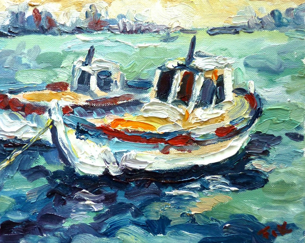 <p><b>Fi Katzler</b><br /><i>Fishing Boats</i><br />Signed<br />Oil on canvas<br />10 5/8 x 10 5/8 in<br />27 x 27 cms</p>