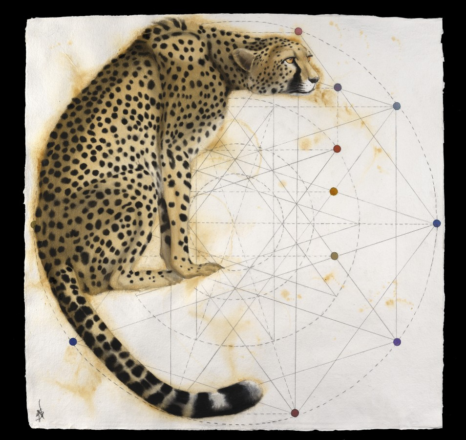 <p><b>Nikki Stevens</b><br /><i>Gothic Cheetah</i>, 2015<br />Signed<br />Watercolour on paper<br />37 x 37 in<br />94 x 94 cms</p>