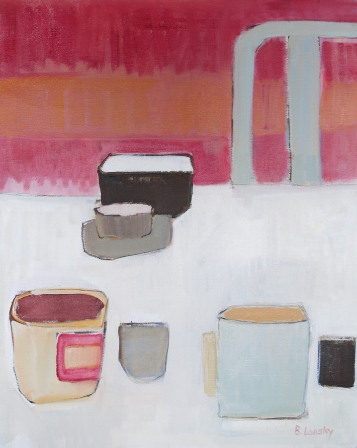 <p><b>Bridget Lansley</b><br /><i>The Table Setting</i><br />Signed<br />Oil on Canvas<br />30 x 24 in<br />76.2 x 61 cms</p>