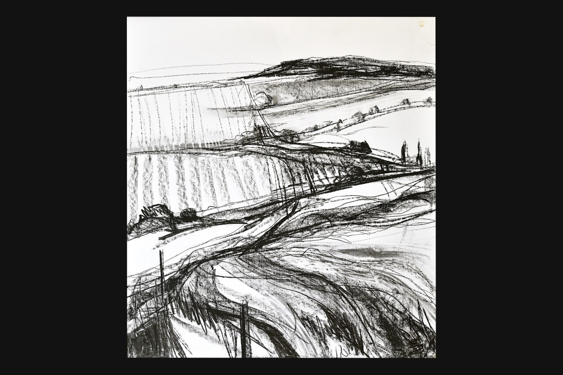 <p><strong>Emma Haggas,</strong></p><p><em><strong>Drawing of Farm Track to Hazelberry Woods</strong></em></p>