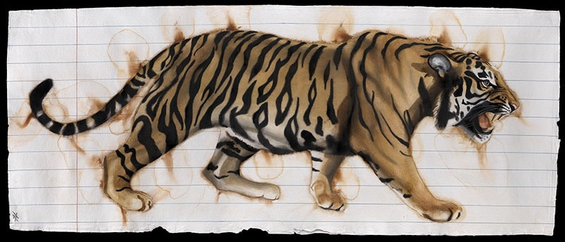 "<p>Paper Tiger XIII, Watercolour, 37"" x 77"", £6,500</p>"
