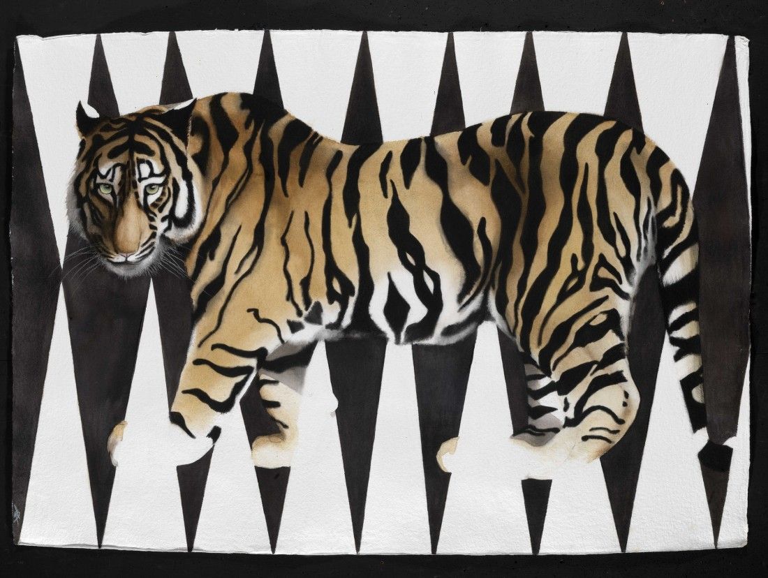 "<p>Vanishing Tiger, Watercolour, 37"" x 53"" £5,400</p>"