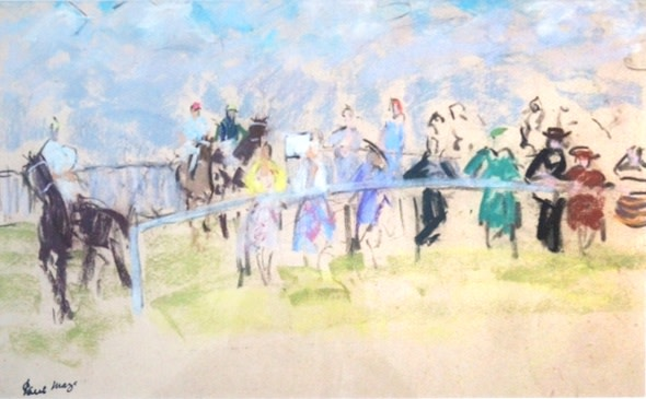 <p>Paul Maze. <i>Racing Scene</i>. Mixed Media. 31 x 50 cms. &#163;5 900.</p>