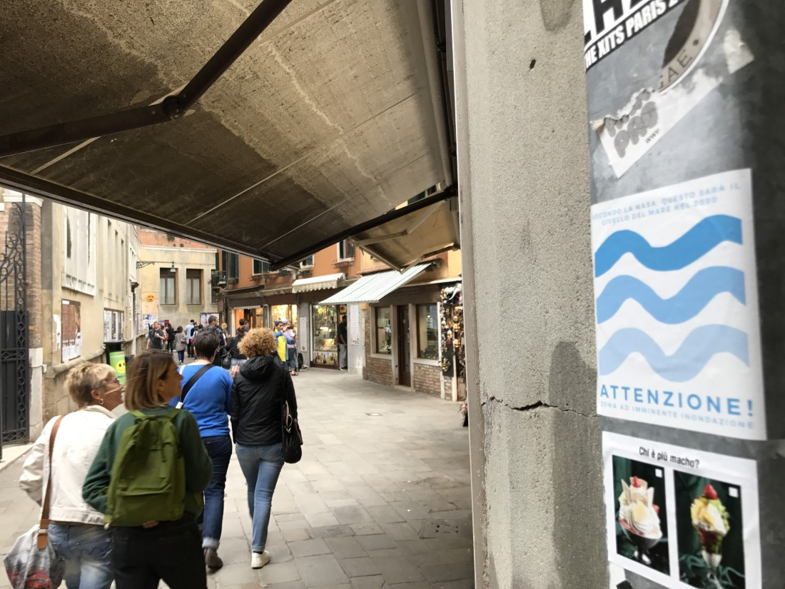 Artist Intervention - Venice, Italy - 57th International Art Exhibition-La Biennale di Venezia- Sea Level Rise Marker (found using After Ice App),