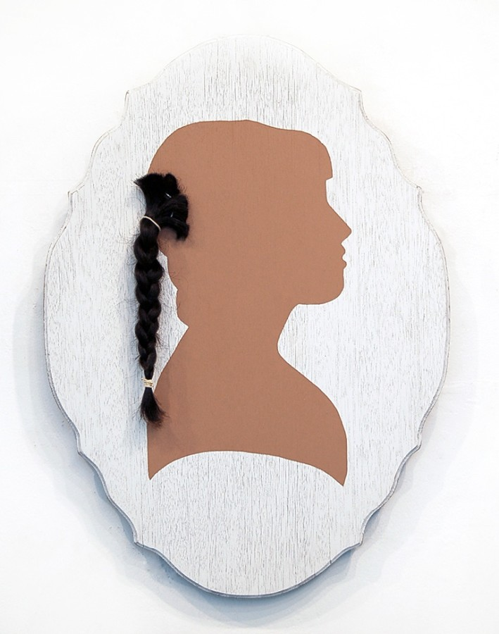 <p>Suzy Gonzalez,&#160;<i>Privilege</i>, 2013</p><p>Acrylic and hair on found wood, 24 x 17 in.</p><p>gonz001</p>