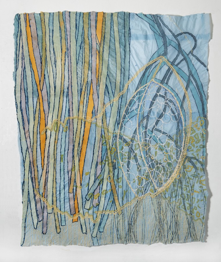 """Nancy Cohen's """"Scrim"""" done with paper pulp, ink and handmade paper in various shades of blue, purple, green, orange and yellow. The piece depicts many strings interlining with each other on a blue layer among other design layers."""