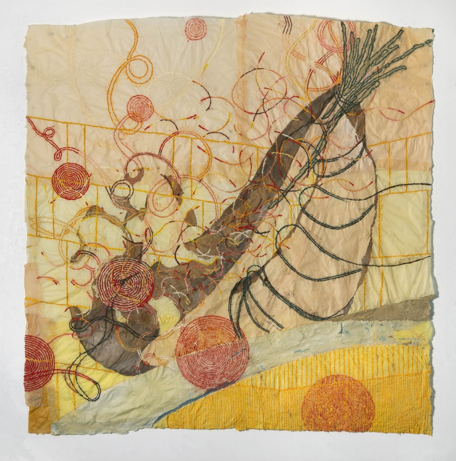 """Nancy Cohen's """"Public Market"""" done with paper pulp and handmade paper in various shades of yellow, orange, tan, blue and green. The piece depicts several design layers on the light orange paper. These designs are overlapping each other creating depth."""