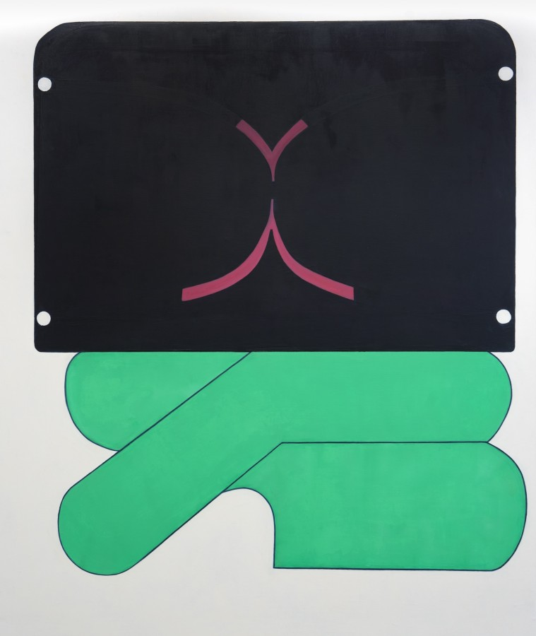 Abstract painting in flat shades of green and black with some dark pink. The painting has jungle green lanes with a flat black surface on top of it. There is a lot of negative space taking over the frame creating an illusion of depth.