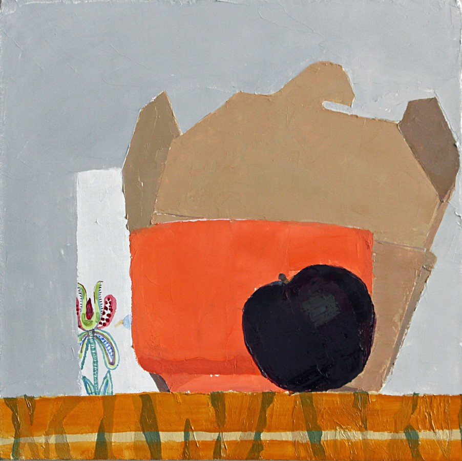 Sydney Licht Still Life with Plum, 2014 Oil on linen 10 x 10 in.
