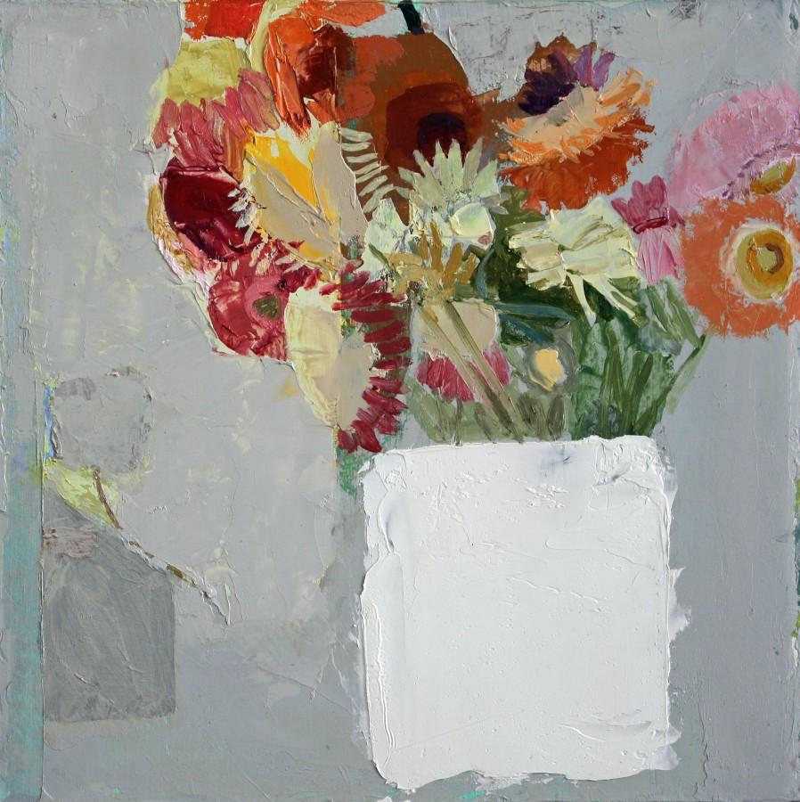 Sydney Licht Still Life with Flowers, 2015 Oil on linen 10 x 10 in.