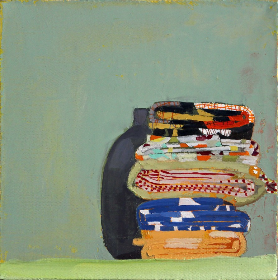 Sydney Licht Still Life with Fat Quarters and Vase, 2014 Oil on linen 10 x 10 in.